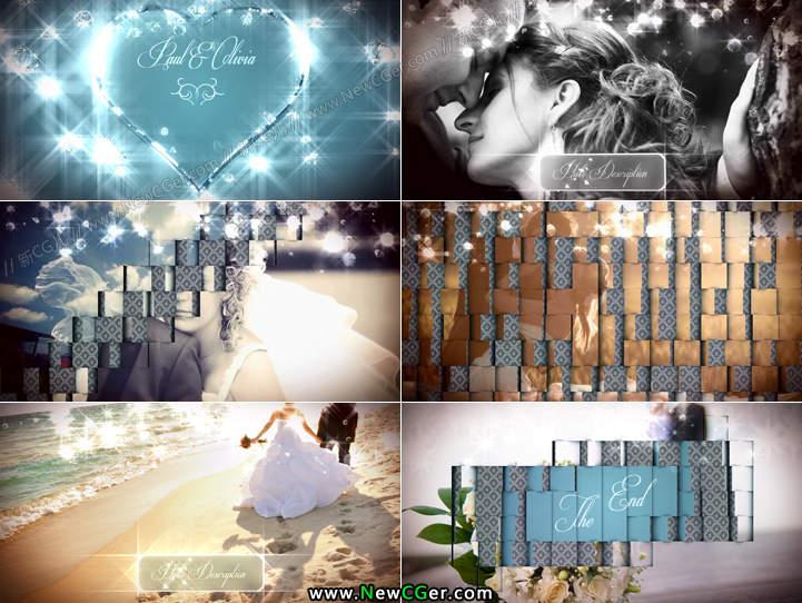 AE模版 《水晶之恋》华丽唯美的婚礼相册