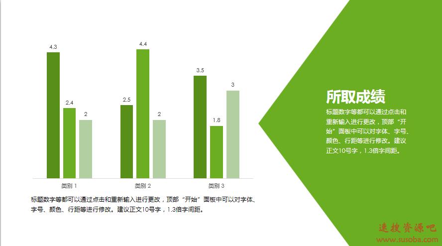 【PPT模板】经典商务报告-简约扁平-黑绿色彩