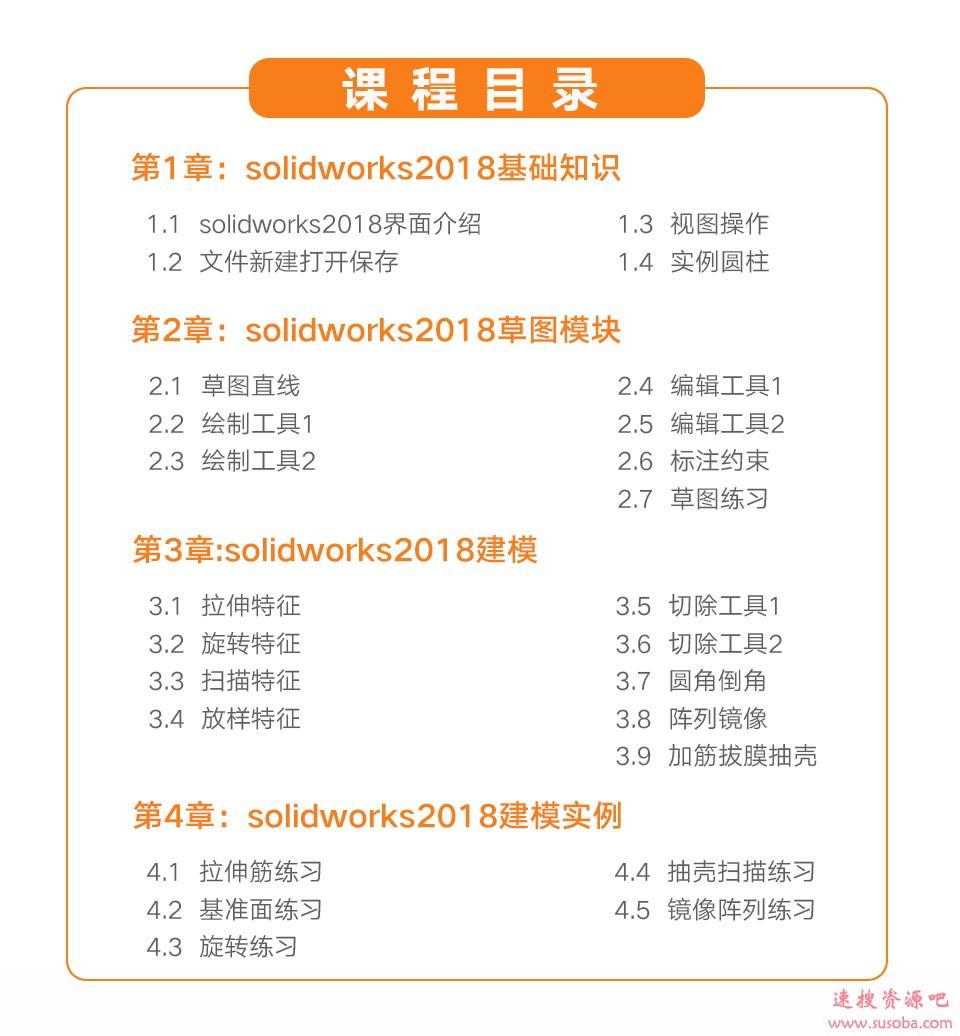 Solidworks2018零基础入门全套课程与课后习题下载