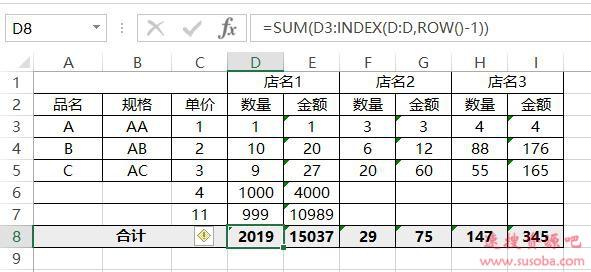【Excel技巧】Excel里面SUM函数增加行后数据自动加进去的方法