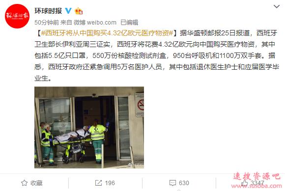 中国将向西班牙出口5.5亿只口罩等医疗物资 总价值33亿元