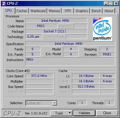 频率提升124% Intel奔腾MMX处理器超频到372MHz