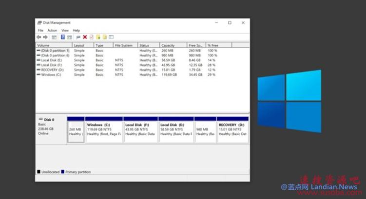 代码显示微软正在为Windows 10开发现代化的磁盘分区管理工具