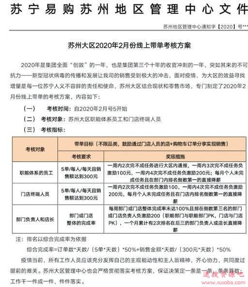 网传苏宁强制所有员工卖货:3天1000元