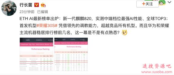 自研5G处理器加持 荣耀30S AI性能首曝:档位最强