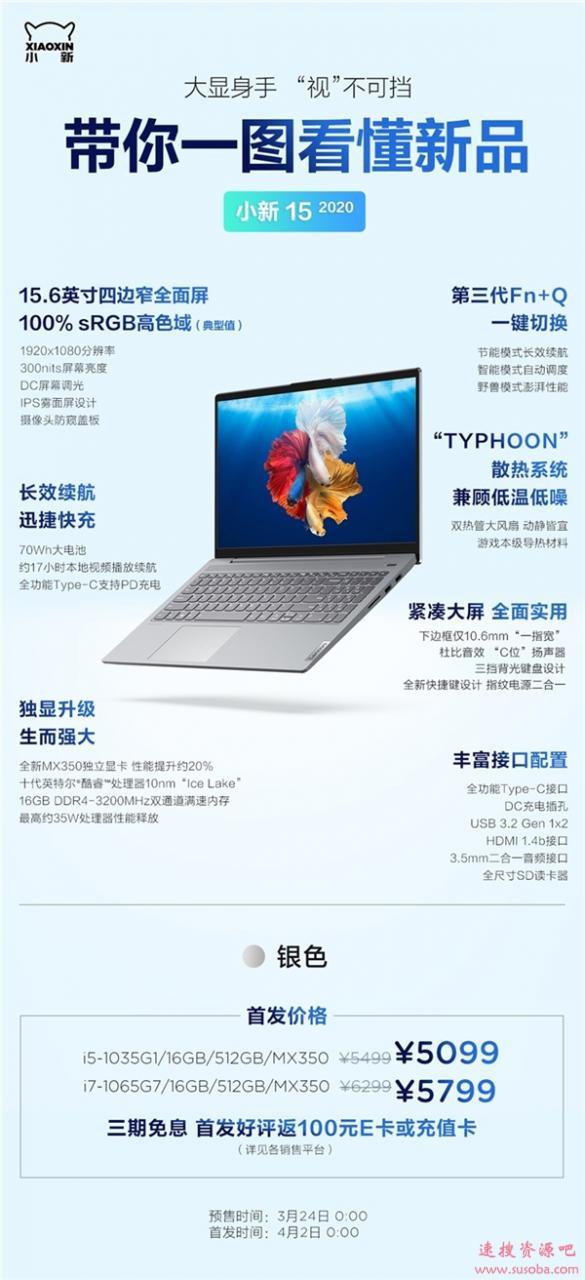 小新15 2020款开卖:十代i5+MX350仅4999元