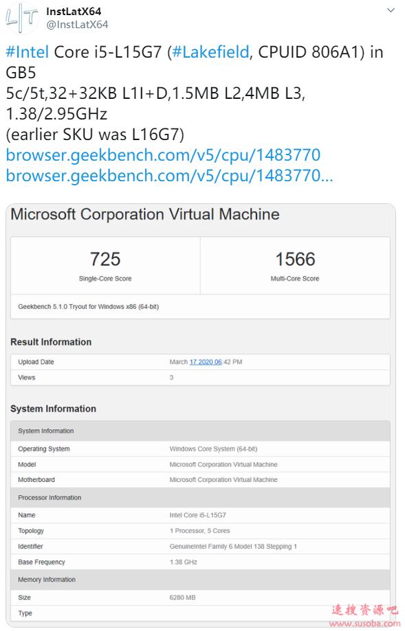 Intel 5核心第二款型号i5-L15G7现身:疑似微软双屏本