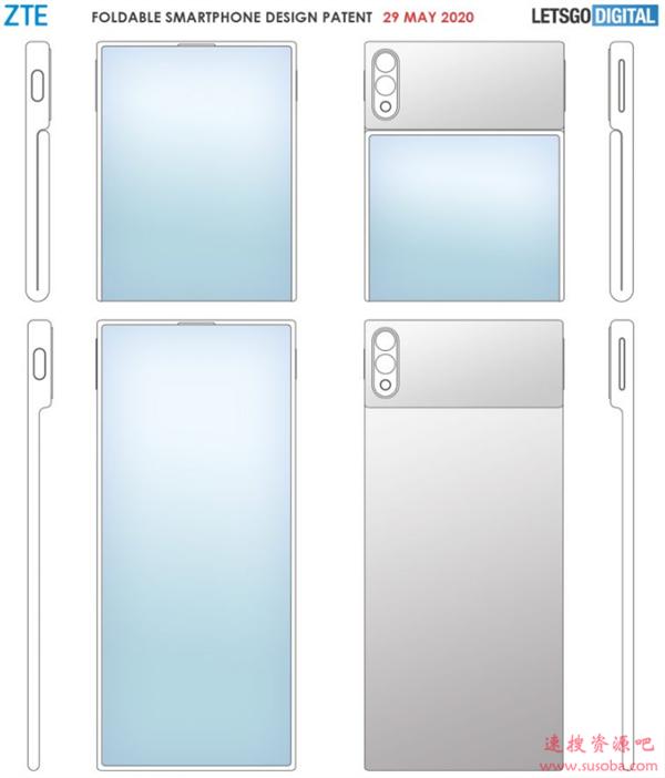 中兴可折叠手机专利曝光:翻盖式柔性屏+双摄设计