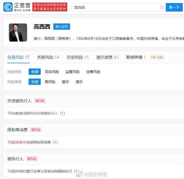 【速搜资讯】导演高希希被列为失信被执行人:曾执导《新三国》
