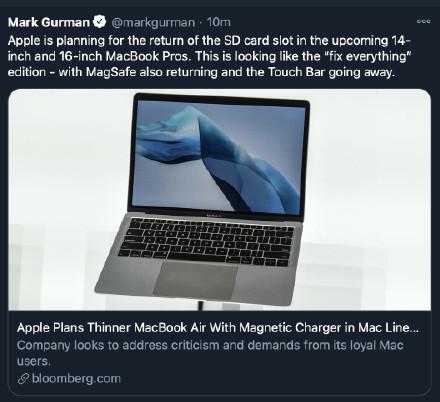 【速搜资讯】不止MagSafe接口:曝苹果全新MacBook Pro SD卡槽回归