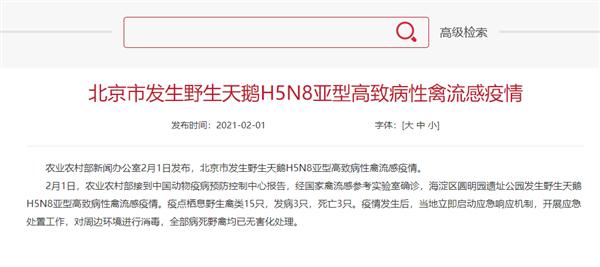 【速搜资讯】北京发生野生天鹅禽流感疫情:中国大陆第一次
