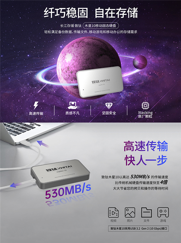 【速搜资讯】长江存储发布致钛木星10移动SSD:512GB只需499元