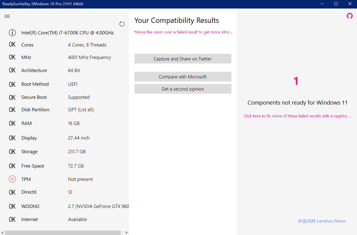 【速搜资讯】[新工具] 检查你的PC是否支持Windows 11以及自动添加注册表绕过限制